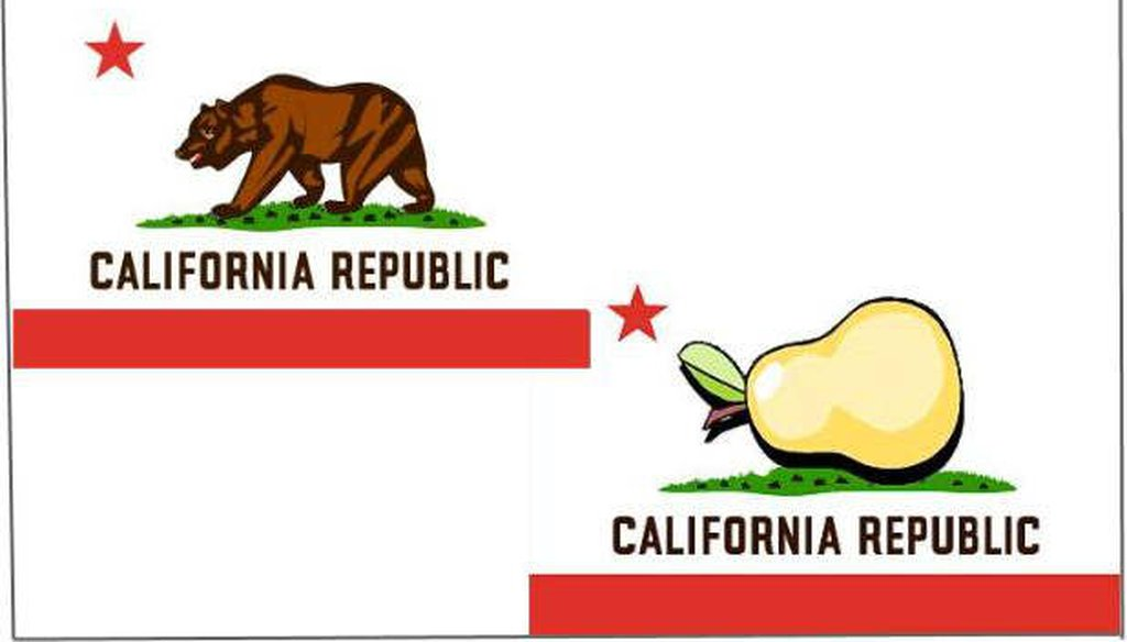 A Snopes joke story says that a pear was the original symbol for California.