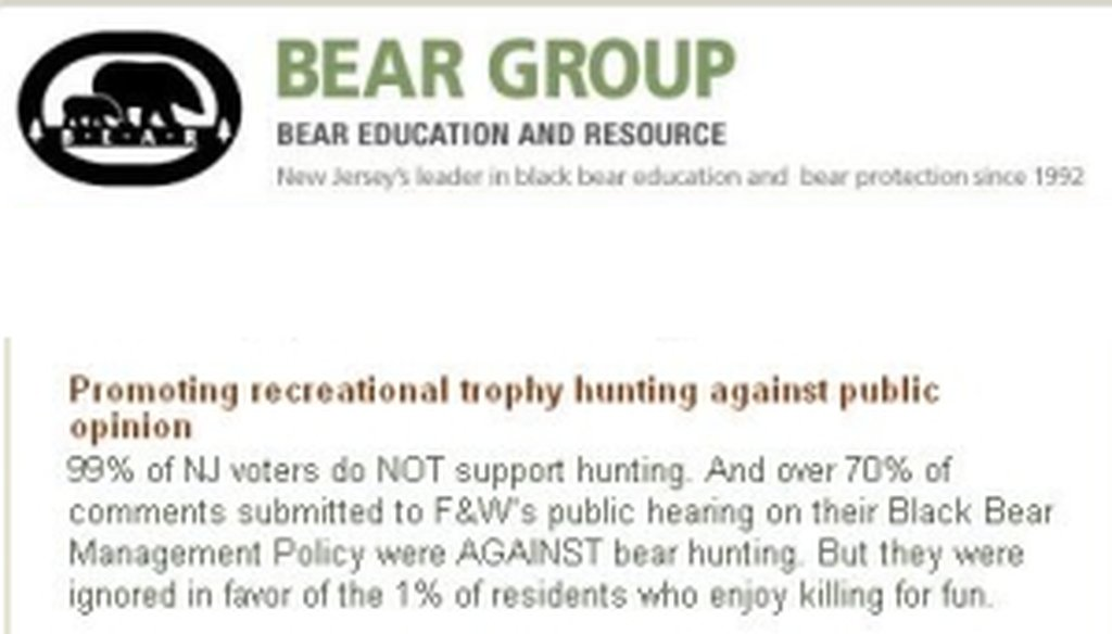 Screenshots of the Bear Education and Resource Group's website from Dec. 6.