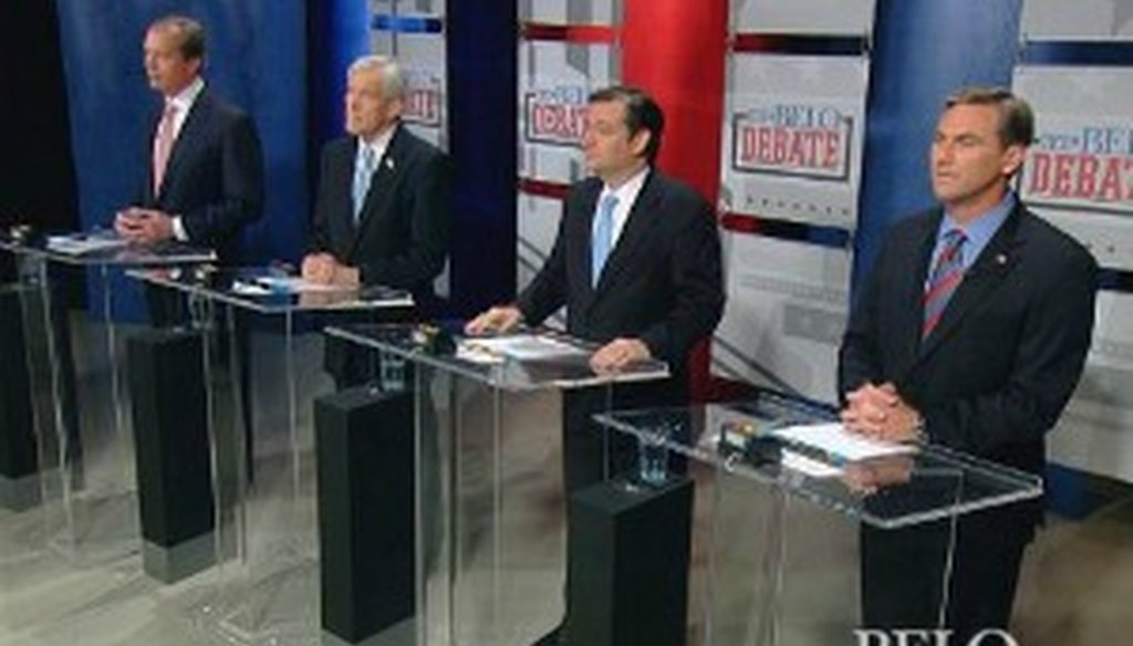 Republican U.S. Senate hopefuls (l. to r.) David Dewhurst, Tom Leppert, Ted Cruz and Craig James at the April 13, 2012, Belo Debate in Dallas. Leppert and James did not advance to the July 2012 runoff (Source: WFAA-TV, Channel 8, Dallas).