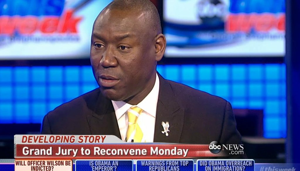 "Benjamin Crump, lead attorney for the family of Michael Brown, talked about the looming grand jury decision on whether to indict police officer Darren Wilson on ABC ""This Week"" on Nov. 23, 2014."