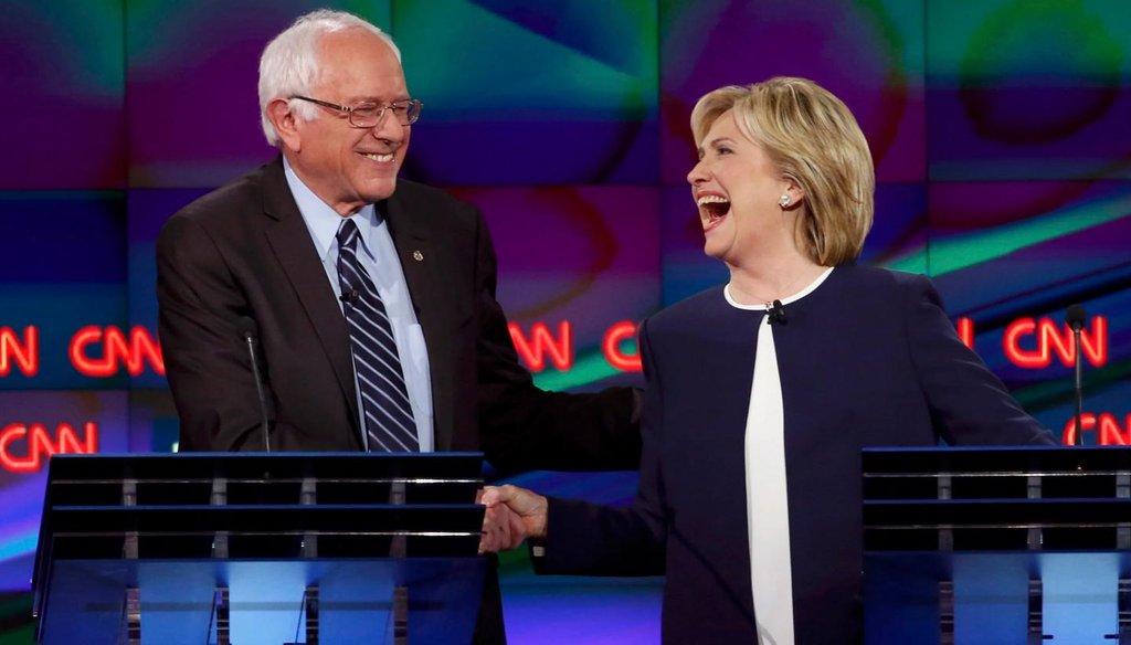 Bernie Sanders and Hillary Clinton took center stage at the first Democratic presidential debate. (Reuters)