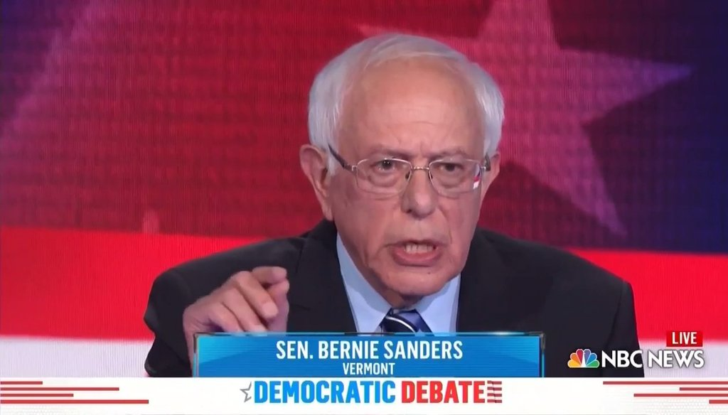 Sen. Bernie Sanders speaks during the second night of the first Democratic debates for the 2020 presidency, which took place on June 28 in Miami, Florida.