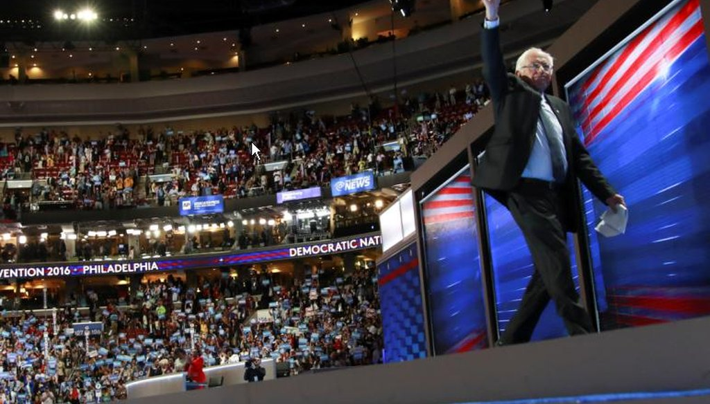 Bernie Sanders leaves the stage at the Wells Fargo Center on the first day of the Democratic National Convention in Philadelphia, July 25, 2016. (Josh Haner/The New York Times)