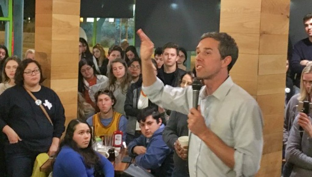 Rep. Beto O'Rourke, shown here speaking early Jan. 29, 2018, in Austin, told a Waco crowd that PTA meetings talk up children creating chaos in the face of classroom shooters (PHOTO: Jonathan Tilove, Austin American-Statesman).