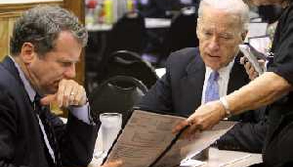 Vice President Joe Biden, right, and Sen. Sherrod Brown look over the menu April 19, 2011, at Slyman's Restaurant, a popular lunch spot, during a campaign visit to Cleveland.