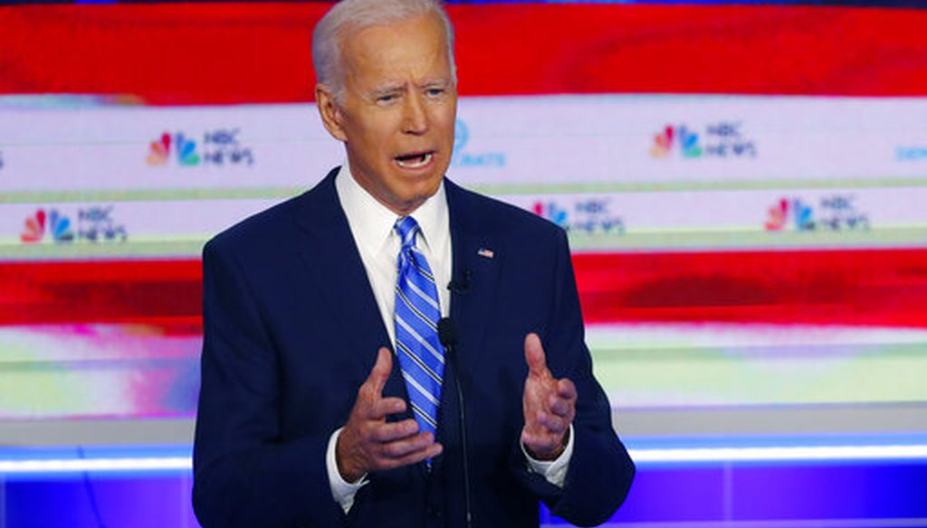 Democratic presidential candidate former vice president Joe Biden, speaks during the Democratic primary debate, Thursday, June 27, 2019, in Miami (AP).