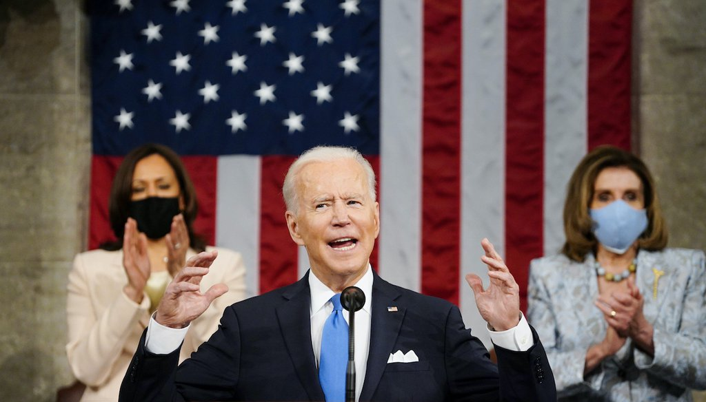 Vice President Kamala Harris, and House Speaker Nancy Pelosi of Calif., stand and applaud as President Joe Biden addresses a joint session of Congress, Wednesday, April 28, 2021, in the House Chamber at the U.S. Capitol in Washington. (AP)