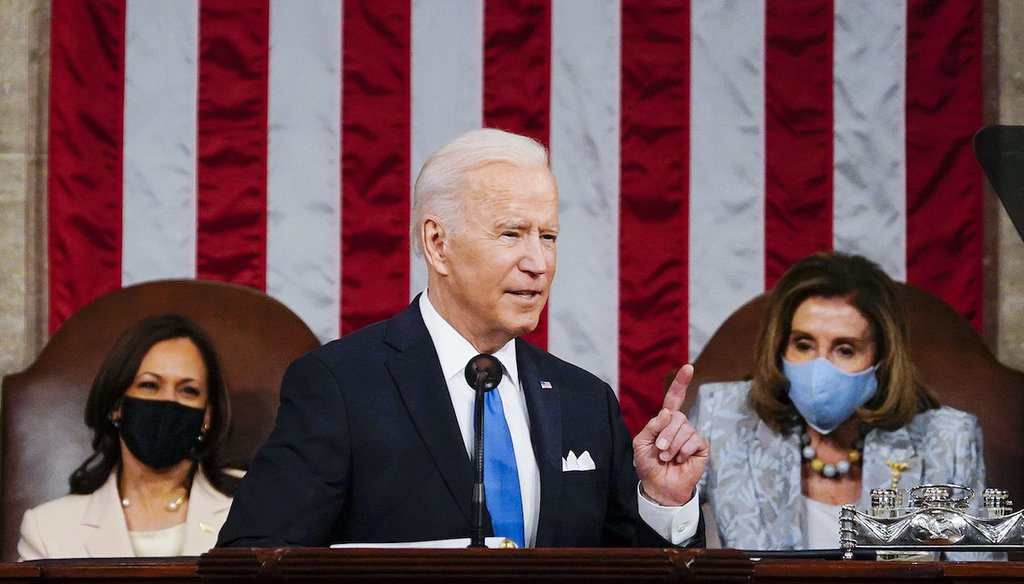 President Joe Biden addresses a joint session of Congress, Wednesday, April 28, 2021, in the House Chamber at the U.S. Capitol in Washington, as Vice President Kamala Harris, left, and House Speaker Nancy Pelosi of Calif., look on. (AP)