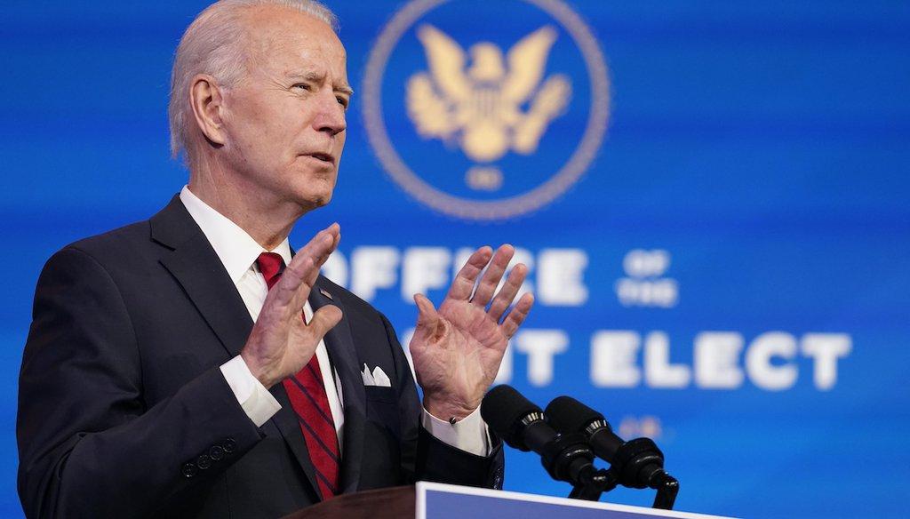 President-elect Joe Biden speaks Jan. 15, 2021, in Wilmington, Del. (AP)