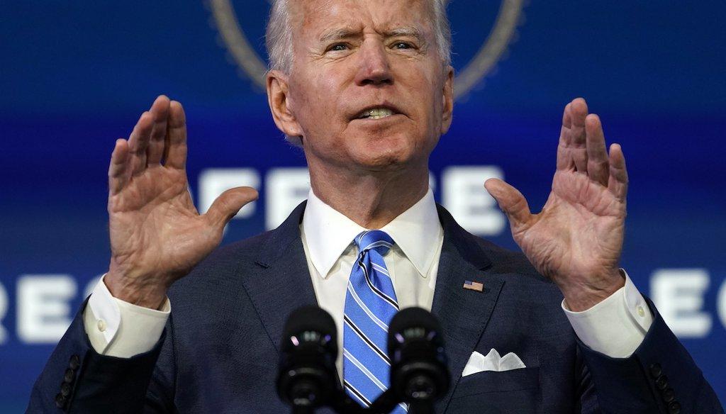 President-elect Joe Biden speaks about the COVID-19 pandemic on Jan. 14, 2021, in Wilmington, Del. (AP)