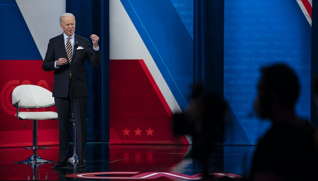 President Joe Biden participates in a televised town hall event Feb. 16, 2021, in Milwaukee. (AP)