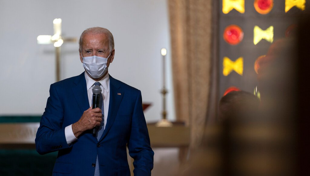 Democratic presidential candidate former Vice President Joe Biden speaks during a community event at Grace Lutheran Church in Kenosha Wis., Thursday, Sept. 3, 2020. (AP Photo/Carolyn Kaster)