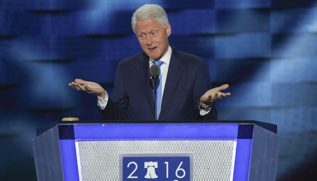 Bill Clinton gives the headlining address at the Democratic National Convention's second night in Philadelphia on July 26, 2016. (New York Times)