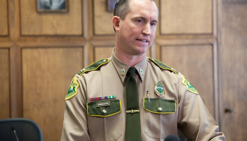 Vermont State Police Director Matthew Birmingham speaks at a press conference in January, 2018. Photo by Mike Dougherty/VTDigger