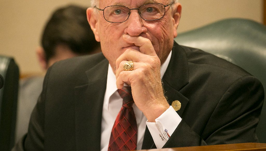 Has state Sen. Bob Hall, R-Edgewood, passed measures into law? (PHOTO: Ralph Barrera, Austin American-Statesman, March 14, 2017)