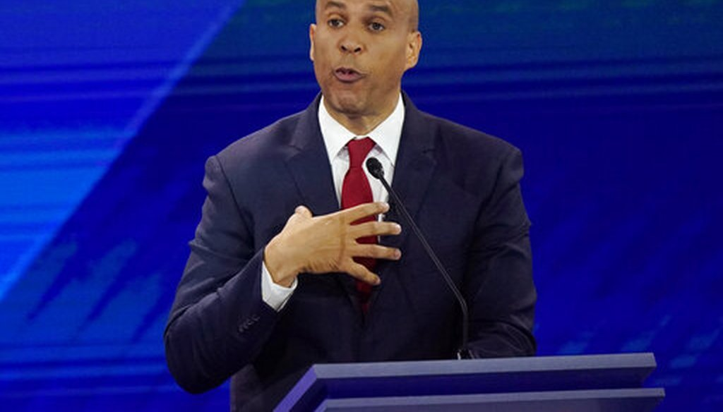 New Jersey Sen. Cory Booker responds to a question during a Democratic presidential primary debate  in Houston on Sept. 12, 2019. (AP/Phillip)