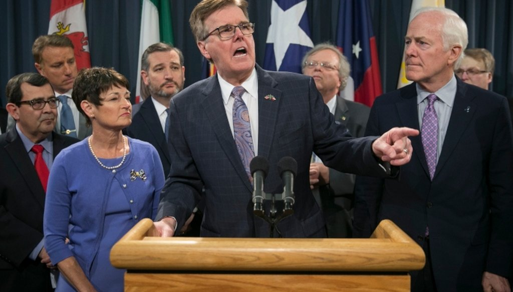 Texas Lt. Gov. Dan Patrick speaks at a news conference at the Capitol about border security. [JAY JANNER/AMERICAN-STATESMAN]
