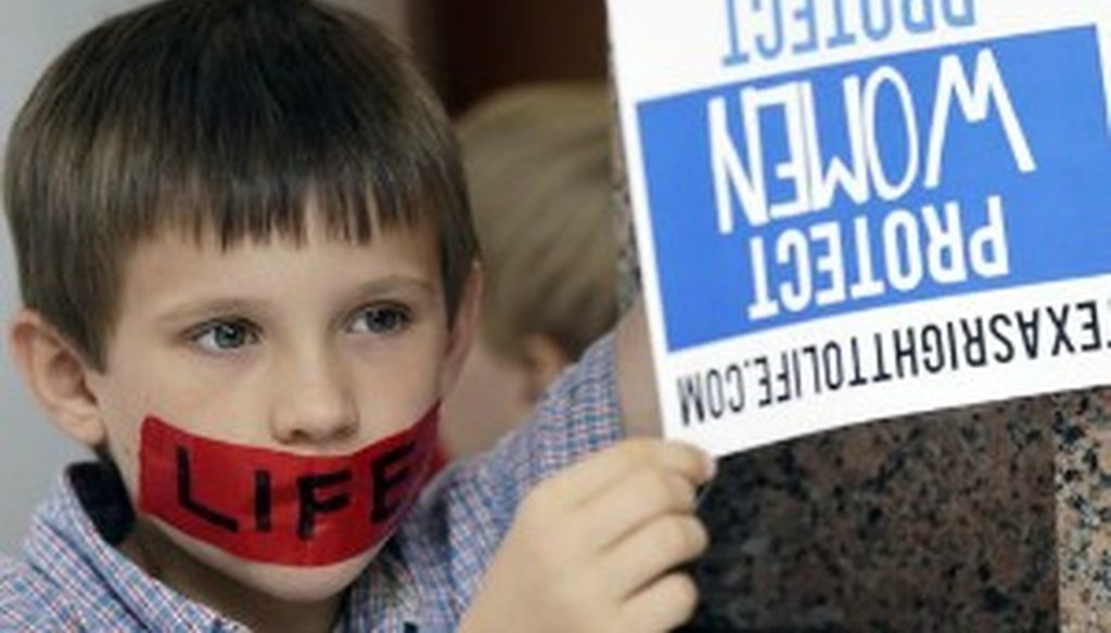 A boy holds a sign at the Texas Capitol on July 8, 2013, the same day speakers at an evening rally said Texas has 80,000 abortions a year (Associated Press, Eric Gay).