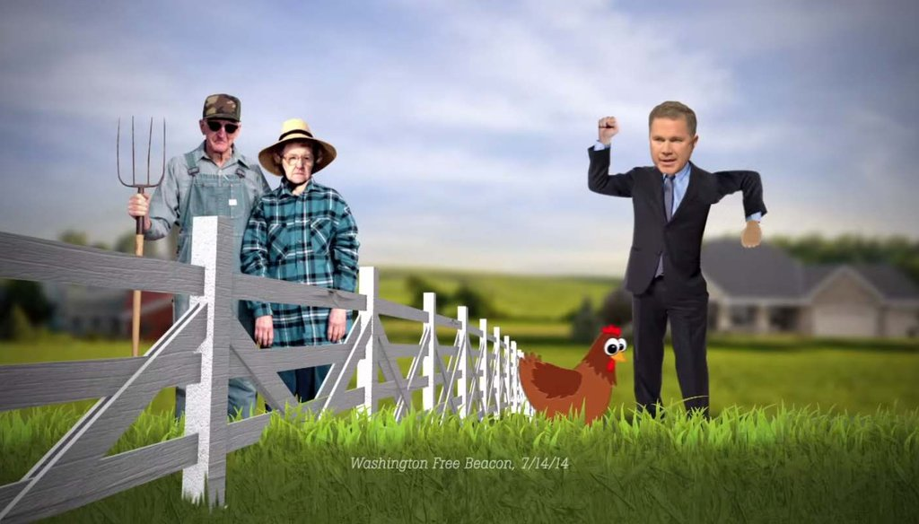 A July American Crossroads ad says Rep. Bruce Braley, D-Iowa, threatened to sue when his neighbor's chickens came into his yard. Republican Joni Ernst said the same thing at a debate Sunday.