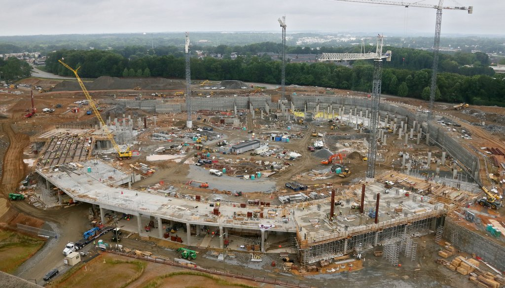 Construction of SunTrust Park, futue of home of the Atlanta Braves, in late May.