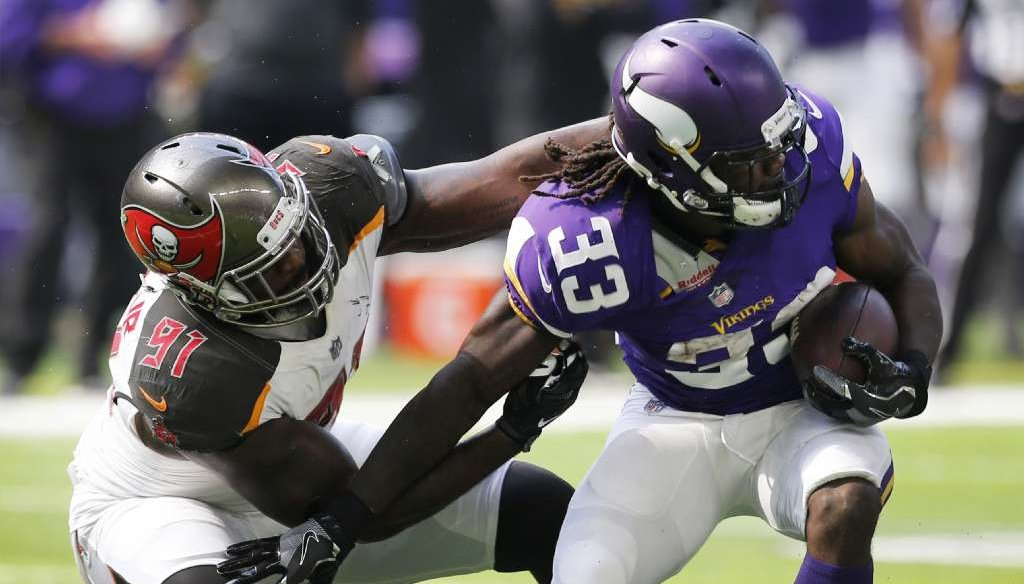 If you watched an NFC game on Sept. 24, 2017, such as the Tampa Bay Buccaneers against the Minnesota Vikings, Fox Sports showed the game. (AP photo)