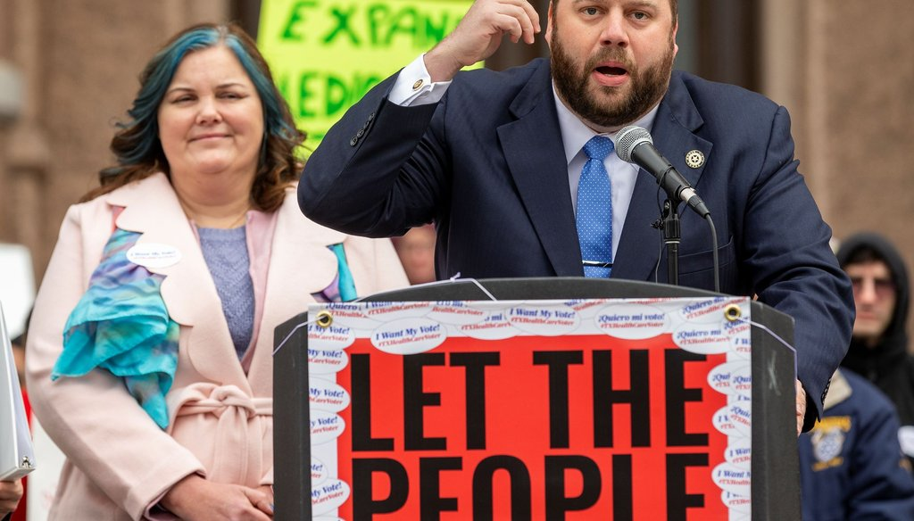 State Rep. John Bucy III, D-Austin, speaks at an Austin rally to expand Medicaid in March [Stephen Spillman/Austin American-Statesman]
