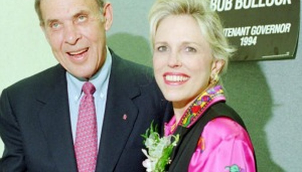 Harry Cabluck of The Associated Press took this photo of Bob Bullock and his wife, Jan, as the Democratic lieutenant governor approached re-election in November 1994. Texas Democrats haven't won a statewide race since.