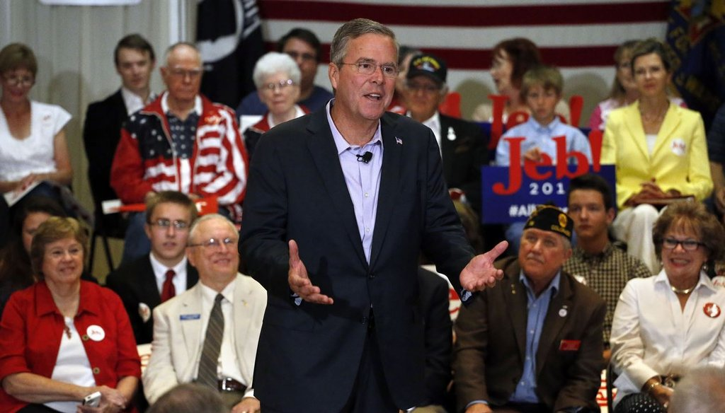 Republican presidential candidate and former Florida Gov. Jeb Bush speaks during a town hall style campaign stop n Englewood, Colo., Aug. 25, 2015. (AP Photo/Brennan Linsley)