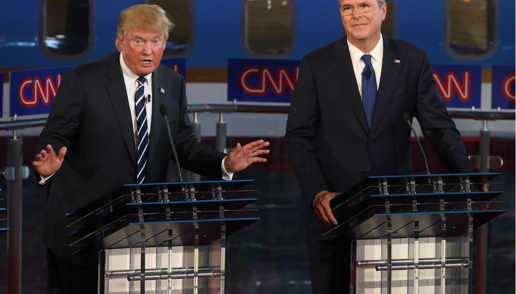 Republican presidential candidates Donald Trump and Jeb Bush take part in the presidential debates at the Reagan Library on Sept. 16, 2015 in Simi Valley, Calif. (Photo by Justin Sullivan/Getty Images)
