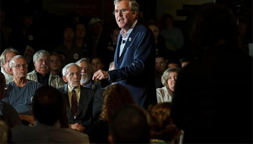Former Florida Gov. Jeb Bush speaks at a town hall in Concord, New Hampshire Oct. 14, 2015. (Concord Monitor)