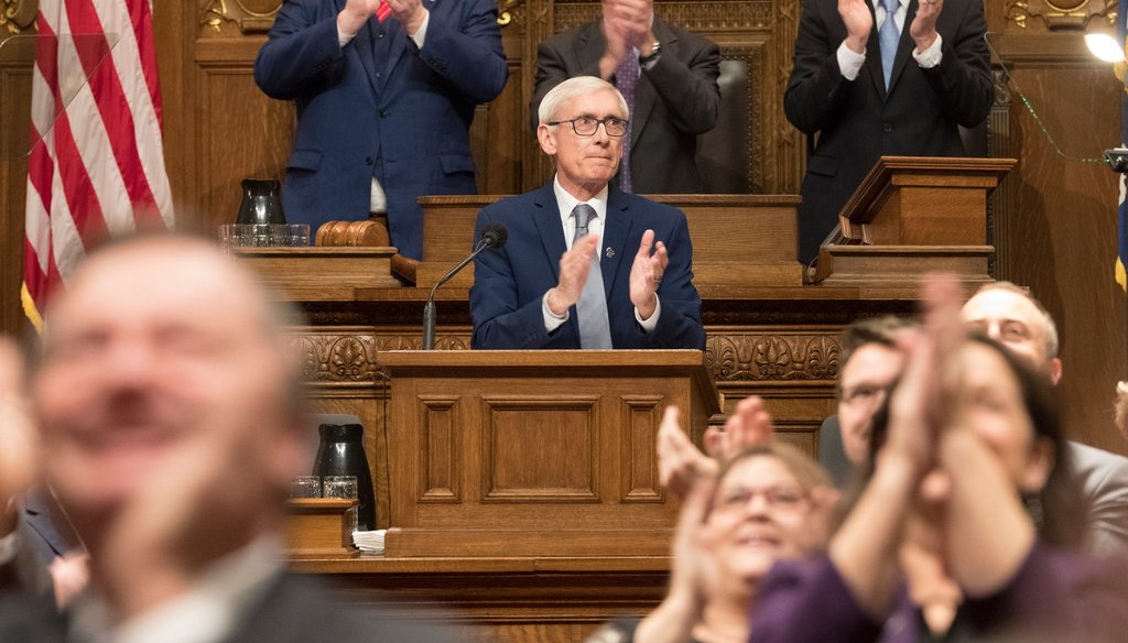 Gov. Tony Evers recognizes people in the gallery before his State of the State address Wednesday, Jan. 22, 2020 at the Capitol in Madison, Wis. (Mark Hoffman/Milwaukee Journal-Sentinel)