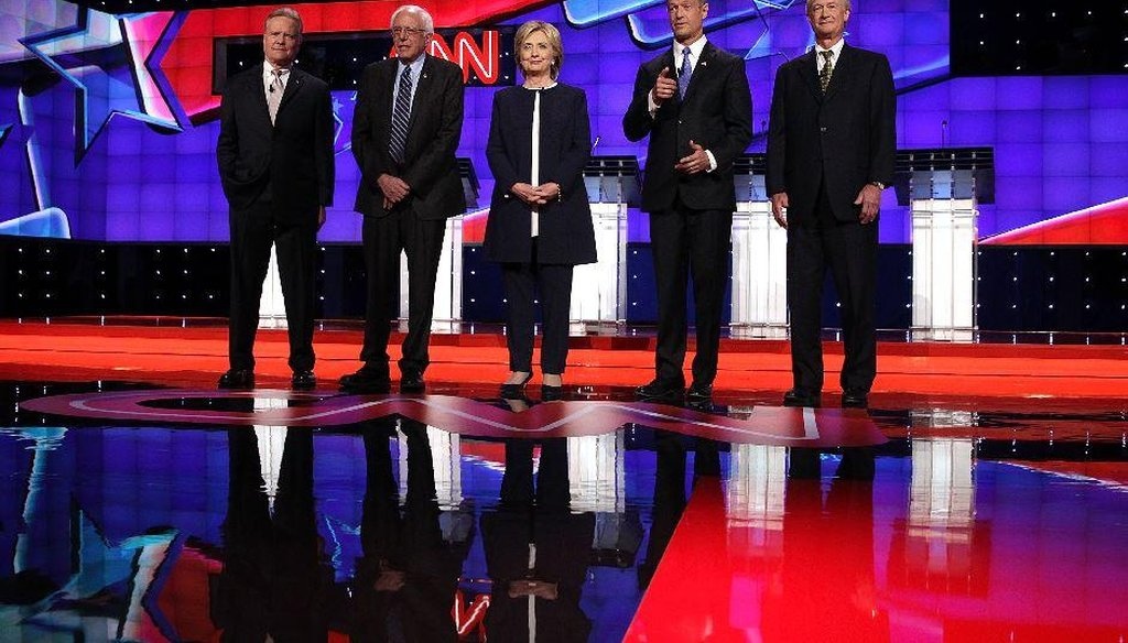 The Democratic presidential candidates prepare to answer questions at the first Democratic debate hosted by CNN in Las Vegas on Oct. 13, 2015. (AP)