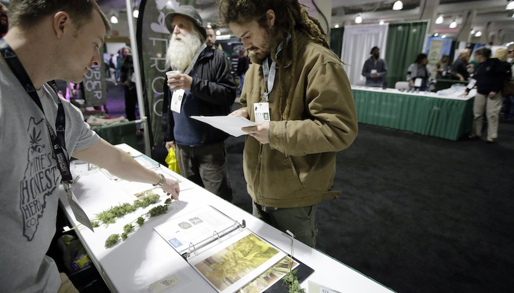 A passer-by, center right, examines marijuana samples at the New England Cannabis Convention, Sunday, March 25, 2018, in Boston. (AP)