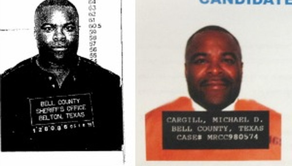 We confirmed that the photo to the left was Michael Cargill's Bell County mug shot. Adan Ballesteros inaccurately depicted Cargill in the illustration to the right.