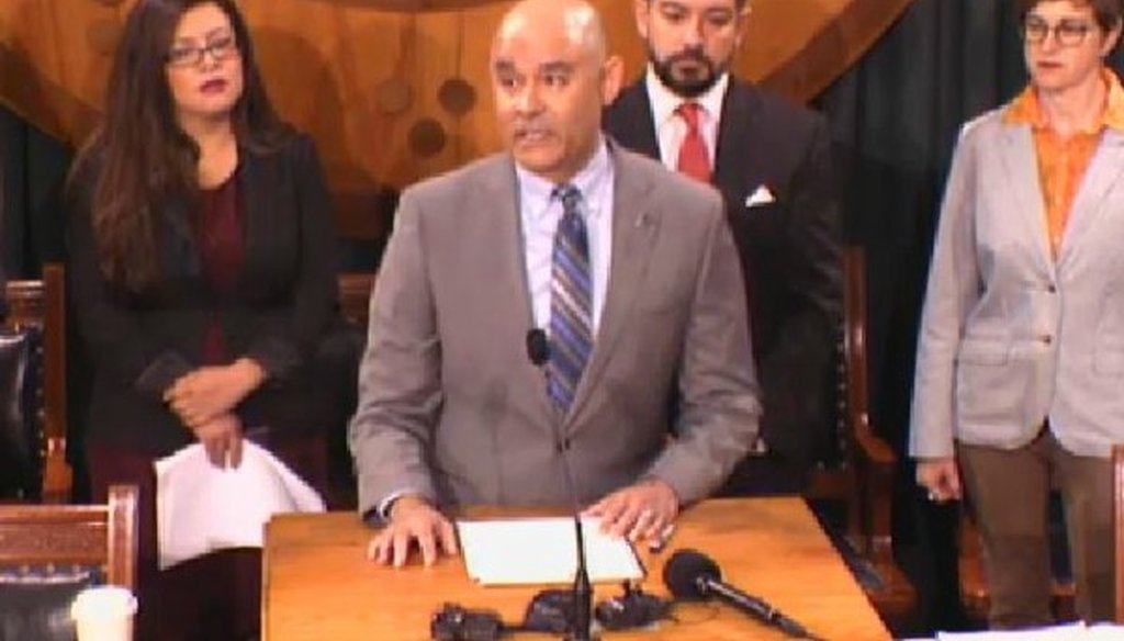 Jose Carrillo of the NALEO Educational Fund makes a claim about the Austin region's population growth at a March 28, 2018 Texas Capitol press conference (screen grab, Texas House).