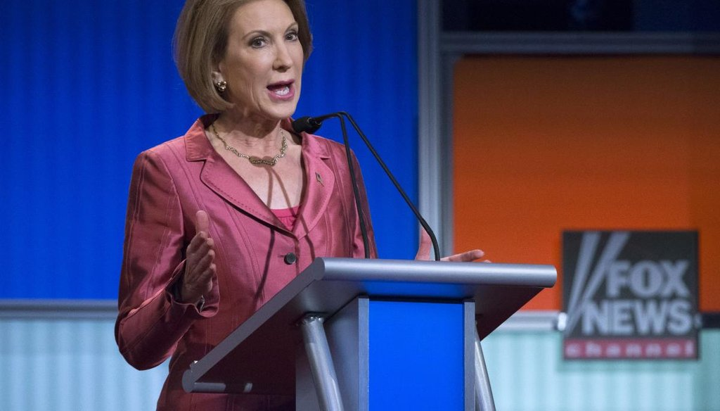 Republican presidential candidate Carly Fiorina speaks during a Fox News Channel pre-debate forum at the Quicken Loans Arena, Thursday, Aug. 6, 2015, in Cleveland. (AP)