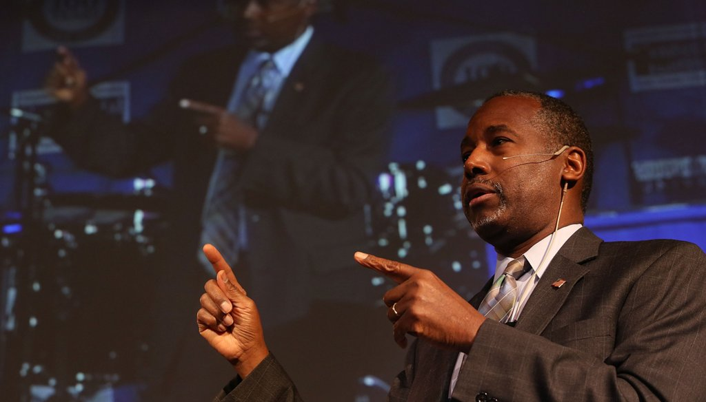 Republican presidential candidate Ben Carson speaks during a Distinguished Speakers Series event at Colorado Christian University on Oct. 29, 2015. (Photo by Justin Sullivan/Getty Images)