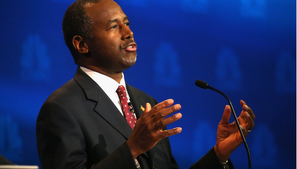 Presidential candidate Ben Carson speaks during the CNBC Republican Presidential Debate at University of Colorado's Coors Events Center October 28, 2015 in Boulder, Colo. (Photo by Justin Sullivan/Getty Images)