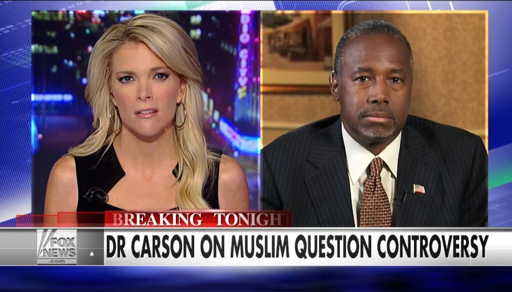"""Republican presidential candidate and former neurosurgeon Ben Carson addressed his recent statement that a Muslim should not be president in an interview on Fox's """"The Kelly File"""" Sept. 22."""