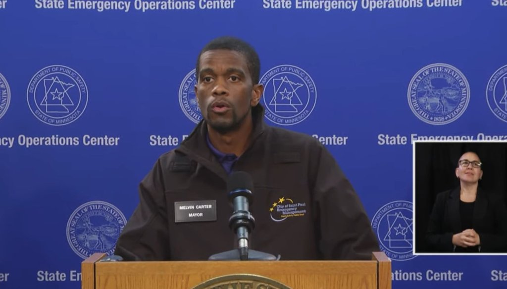 St. Paul, Minn., mayor Melvin Carter walking back an earlier comment about the arrests of out-of-state residents at a press conference on May 30, 2020. (Screenshot)