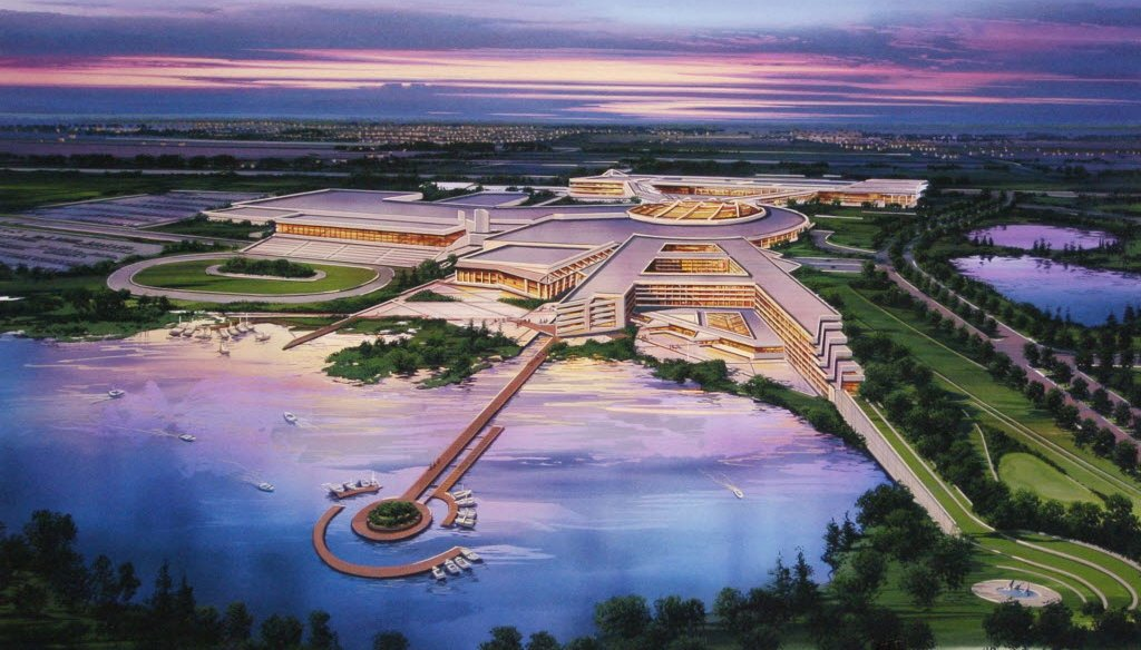 This artist's rendering provided by The Menominee Nation shows the tribe's proposed casino at the site of the former Dairyland Greyhound Dog Track in Kenosha, Wis.