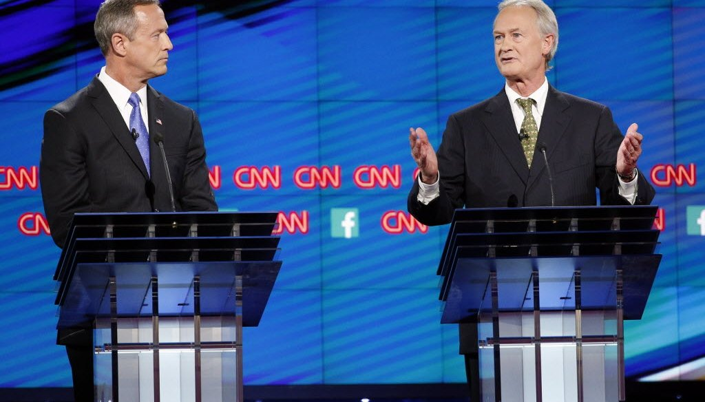 Democratic presidential candidates former Maryland Gov. Martin O'Malley, left, and  former Rhode Island Gov. Lincoln Chafee.  AP Photo/John Locher