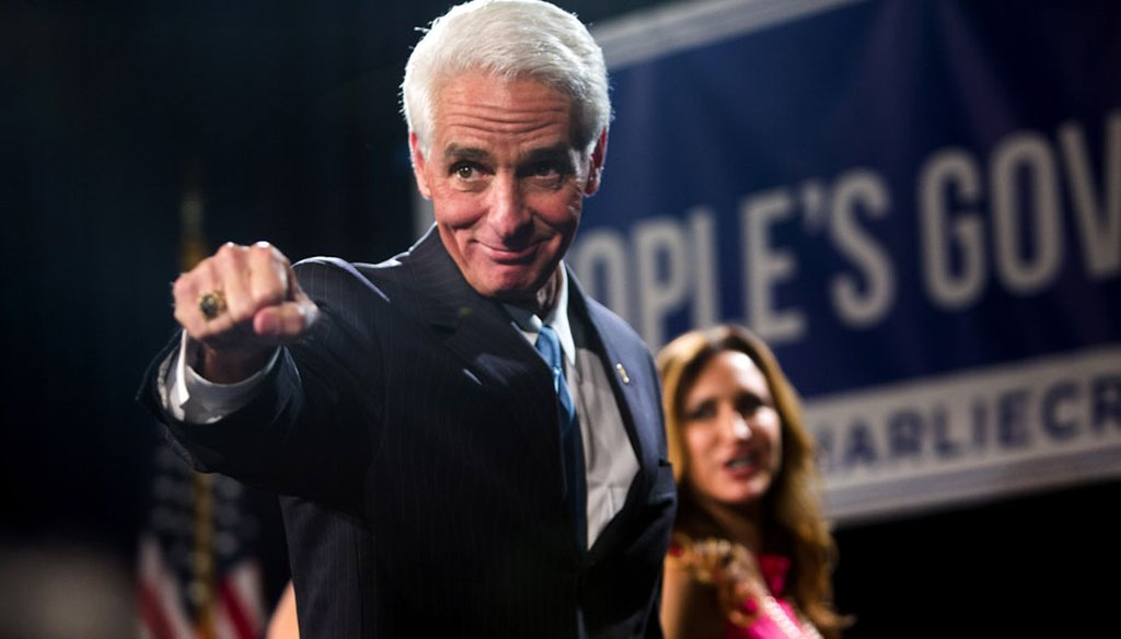 Former Gov. Charlie Crist and his wife, Carole, leave the stage in St. Petersburg after his concession speech on Nov. 4, 2014. (Tampa Bay Times photo)