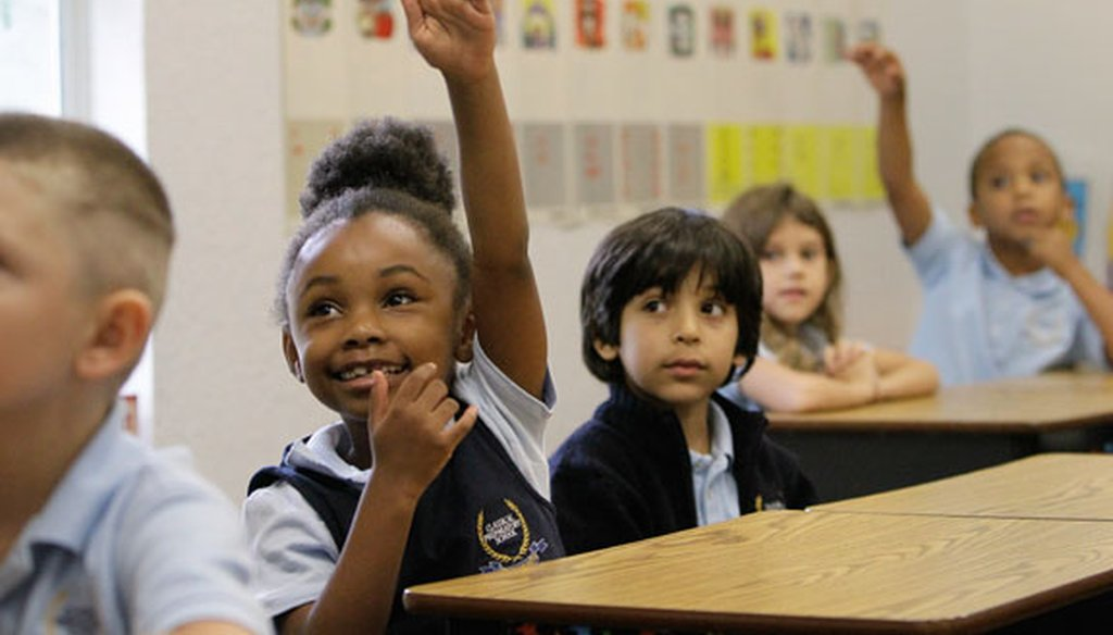 First-grade students participate in class at Classical Prep, a charter school in Spring Hill. (Tampa Bay Times file photo, 2014)