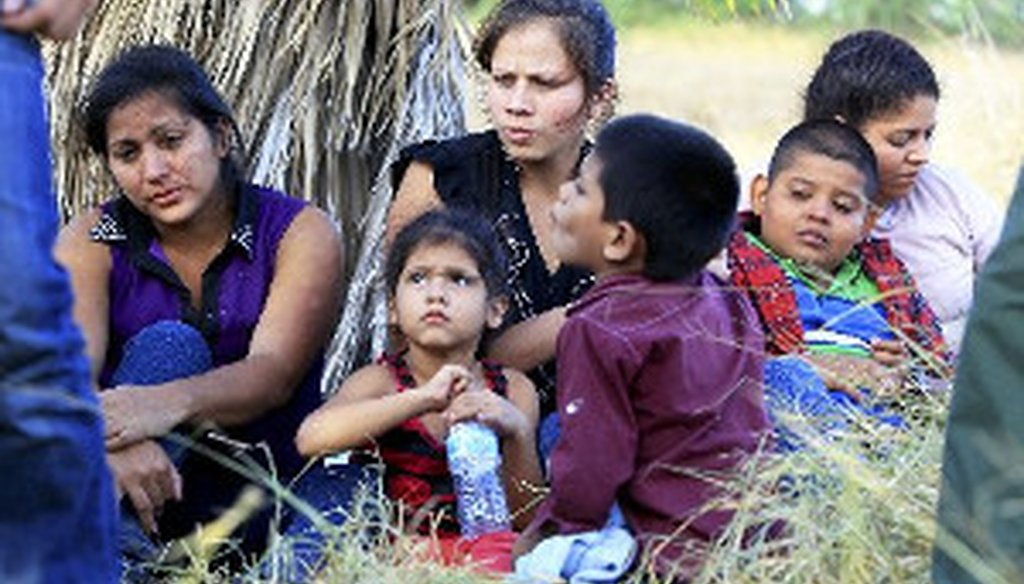 A group of 22 migrants, mostly women and children from Honduras and Guatemala, in custody just after crossing the Rio Grande near McAllen, Texas, June 18, 2014. (Jennifer Whitney/The New York Times)