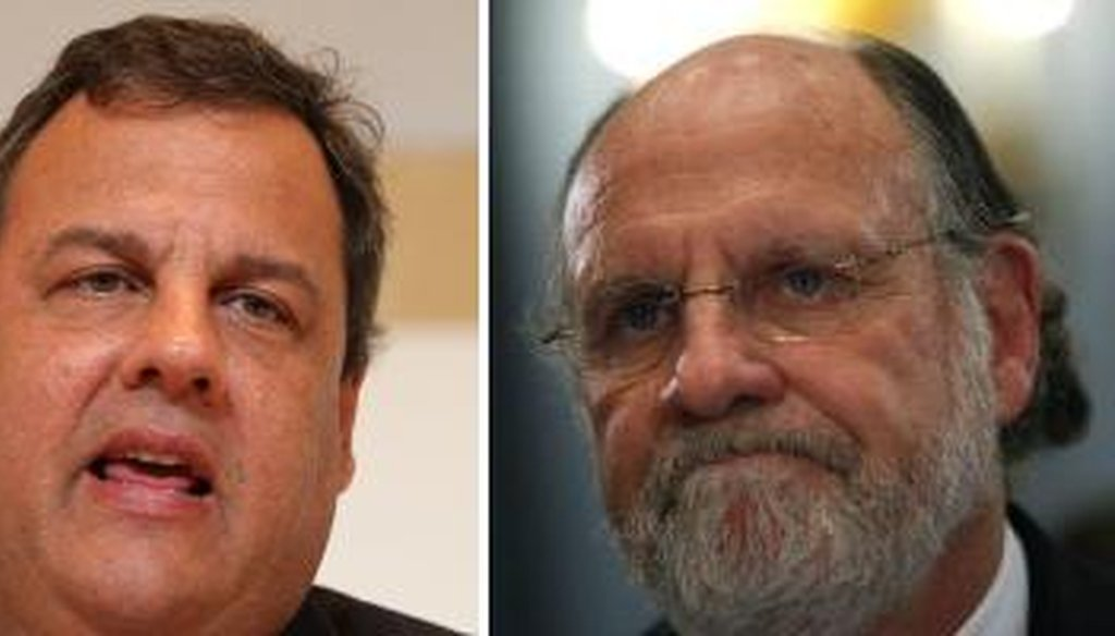 "Gov. Chris Christie, left, has criticized his predecessor, Jon Corzine, for giving away 14 percent raises and vowing to ""fight"" for public employees at a union rally."