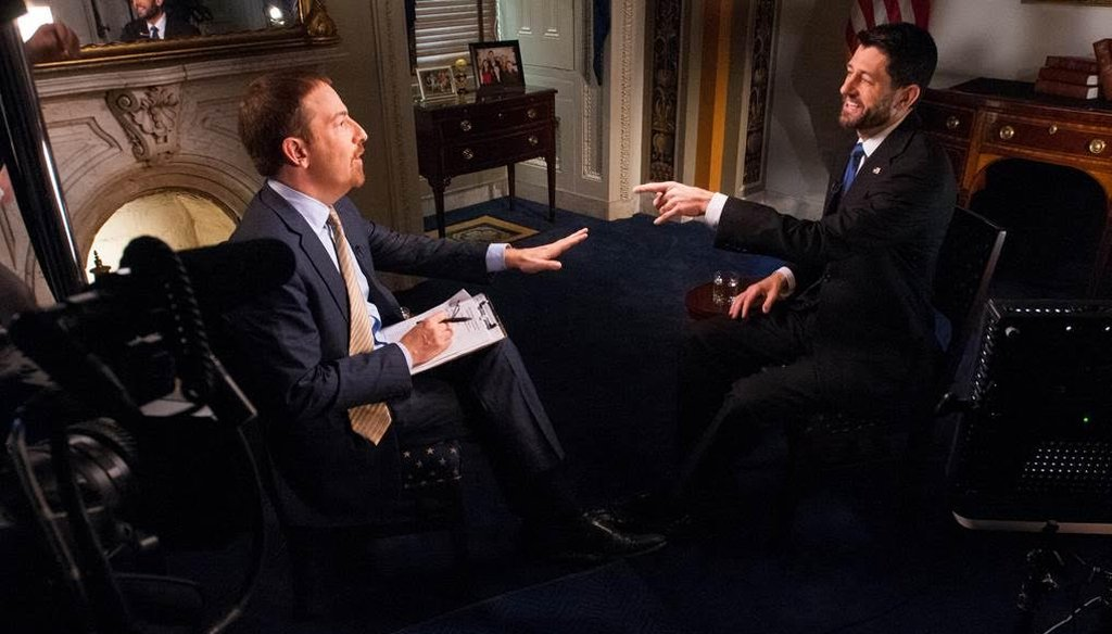 NBC's Chuck Todd interviews House Speaker Paul Ryan, R-Wisc., about the recent budget deal and Obamacare for an interview that aired Dec. 20, 2015. (NBC handout)