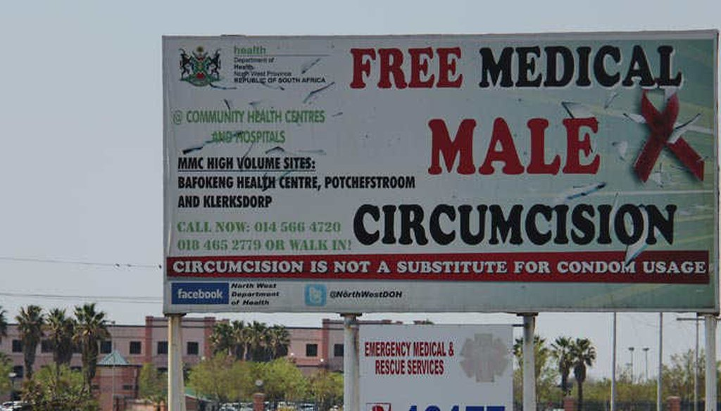 A billboard advertises medical male circumcision in South Africa (Avert)