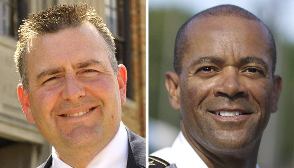 Chris Moews, a lieutenant with the Milwaukee Police Department (left) and Milwaukee County Sheriff David Clarke Jr. are squaring off in the Aug. 12 primary