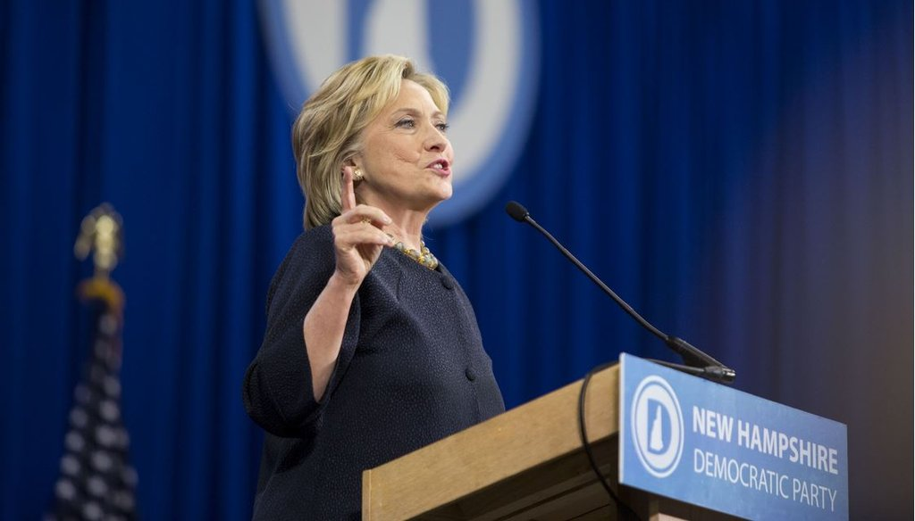 Democratic presidential candidate Hillary Clinton speaks during the New Hampshire Democratic Party Convention Sept. 19, 2015 in Manchester, N.H. (Photo by Scott Eisen/Getty Images)
